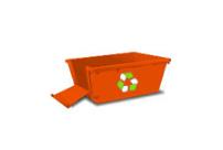 Hackham Skip Bins - A picture of an orange skip bin with a ramp.