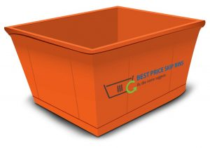 Graphic illustration of an orange skip bin with Best Price Skip Bins logo