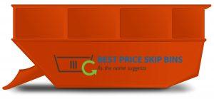 Orange skip bin with Best Price Skip Bins on the side